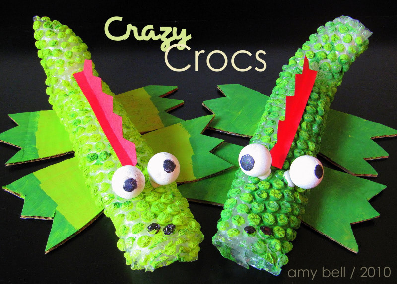 Fun Arts And Crafts For Kids  Bubble Wrap Crocodile Kids Craft