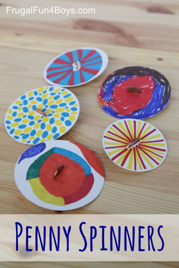 Fun Craft Ideas For Kids  Penny Spinners Toy Tops that Kids Can Make