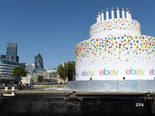 Giant Birthday Cake  In pictures there s a giant birthday cake floating on the