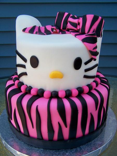 Hello Kitty Birthday Cake  Zebra Print Hello Kitty Birthday Cake CakeCentral