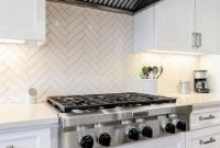 Herringbone Kitchen Backsplash Beautiful White Herringbone Kitchen Backsplash Tiles Transitional