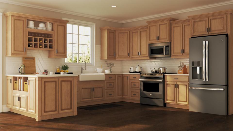 Home Depot Kitchen Design  Hampton Wall Kitchen Cabinets in Medium Oak – Kitchen