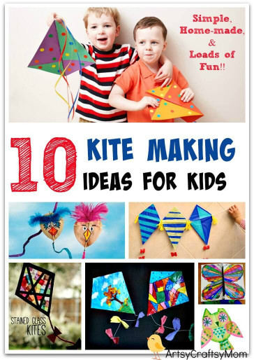 Ideas For Kids  10 Simple Kite Making Ideas for kids Artsy Craftsy Mom