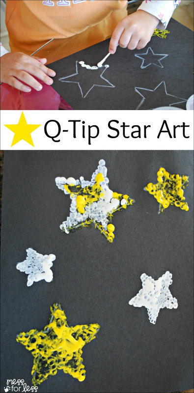Kids Art Projects  Kids Art Project Q Tip Star Art Mess for Less