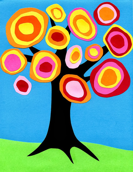 Kids Art Projects  Kandinsky Tree Collage · Art Projects for Kids