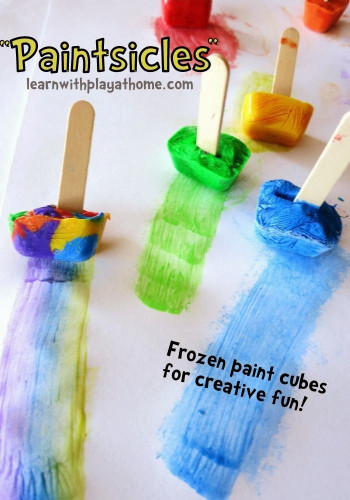 Kids Creative Activities At Home  Paintsicles Activity from Learn with Play at Home kids