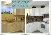 """Kitchen Backsplash Diy Awesome Diy """"renters"""" Backsplash with Vinyl Tile"""