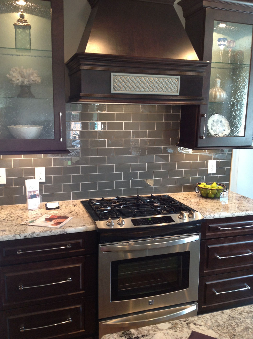 Kitchen Backsplash Ideas For Dark Cabinets  Ice Gray Glass Subway Tile H O M E D E C O R