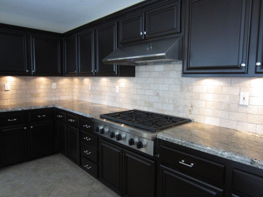 Kitchen Backsplash Ideas For Dark Cabinets  White Glass Tile Backsplash with Dark Cabinets 1024