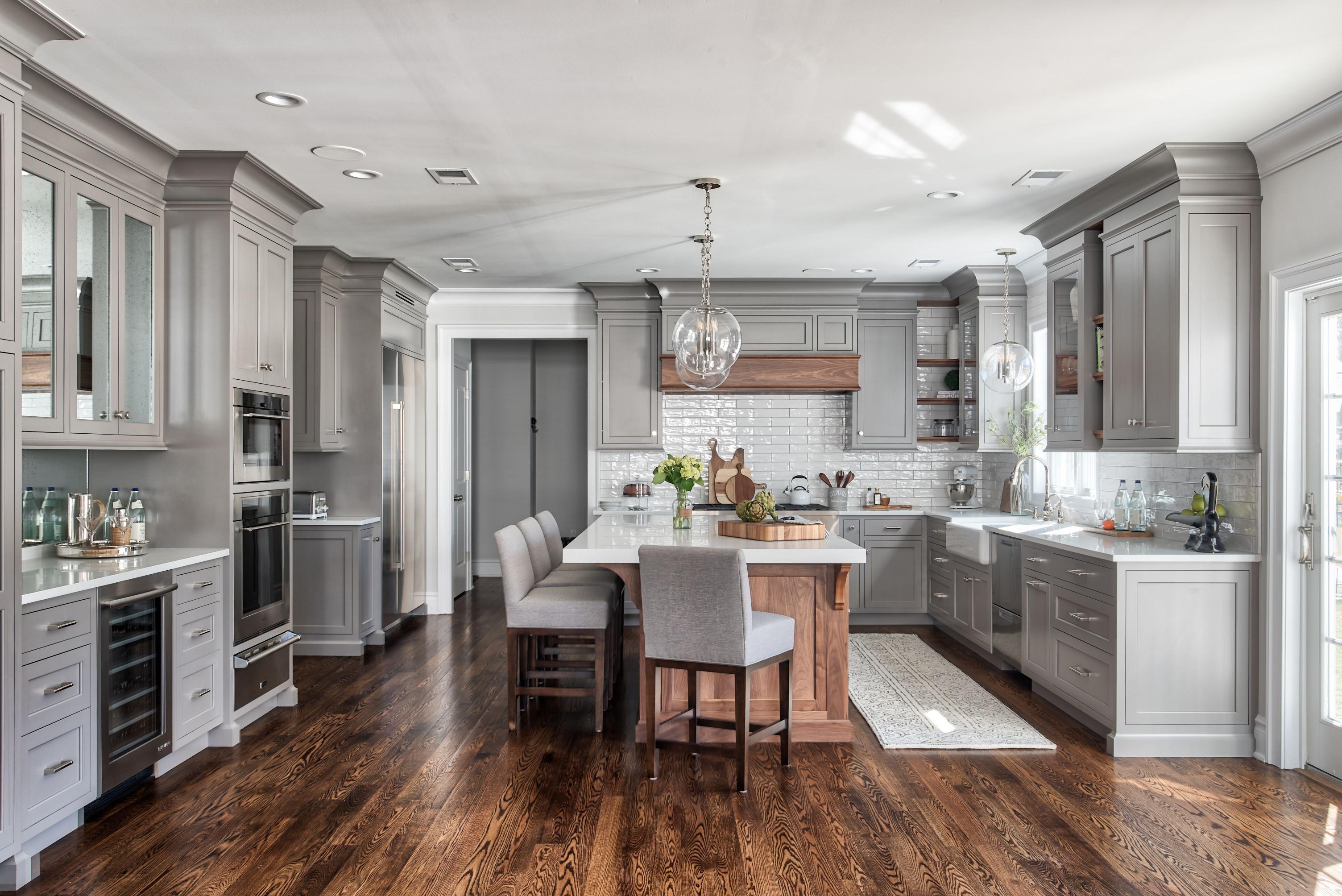 Kitchen Design Ideas  Custom Gray Cabinetry with Walnut Island and Walnut Hood