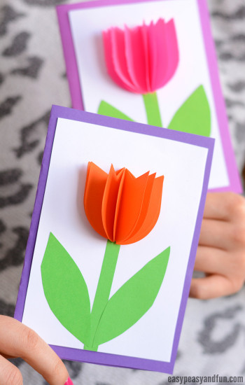 Mothers Day Craft Ideas For Kids  3D Paper Tulip Card Simple Mother s Day Card Idea Easy
