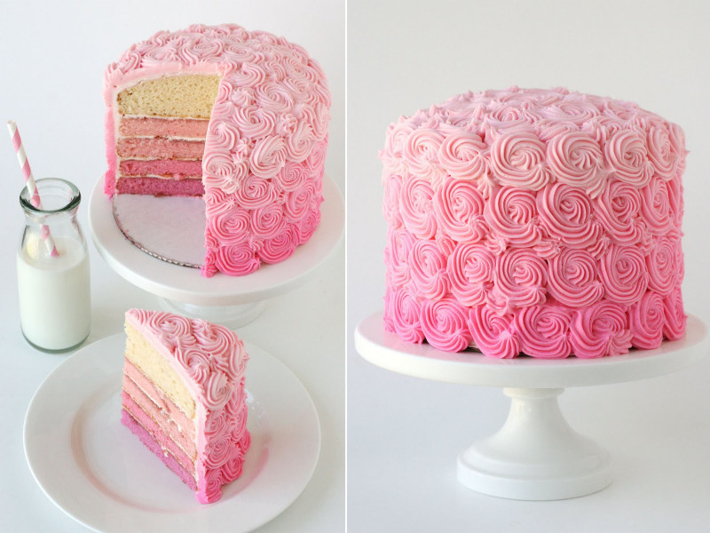 Pink Birthday Cake  Pink Ombre Swirl Cake – Glorious Treats