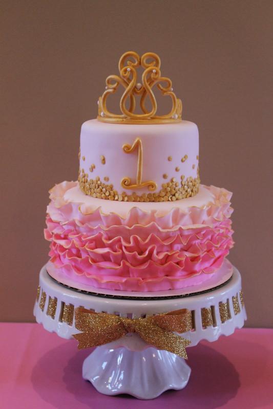 Pink Birthday Cake  Richly Blessed Emery s 1st Birthday Party