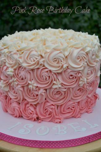 Pink Birthday Cake  Pink Rose Ombre Buttercream Swirl Birthday Cake