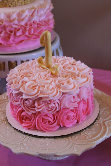 Pink Birthday Cake  pink ombre rosette smash cake first birthday pink and