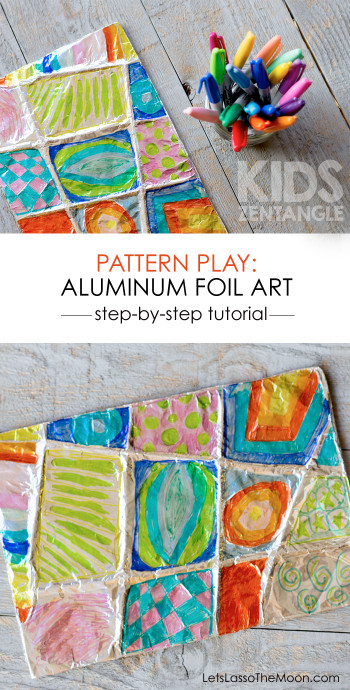 Projects For Kids  Colorful Zentangle Art Easy Aluminum Foil Kids Project