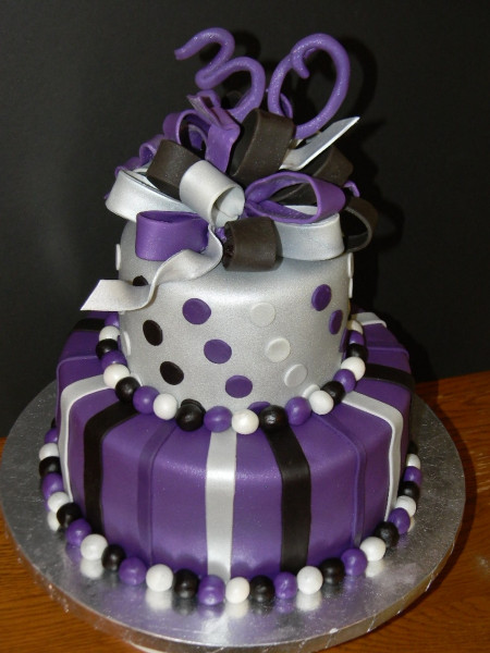 Purple Birthday Cake  Purple Silver And Black 30Th Birthday CakeCentral