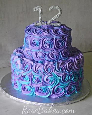 Purple Birthday Cake  Purple & Teal Swirled Buttercream Roses Cake Rose Bakes