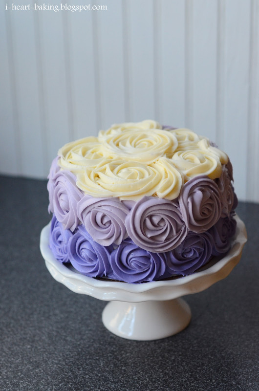 Purple Birthday Cake  i heart baking purple ombre roses cake