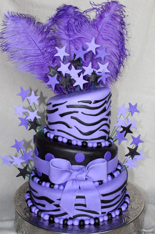 Purple Birthday Cake  Cake Flair Purple Zebra and Feathers Cake