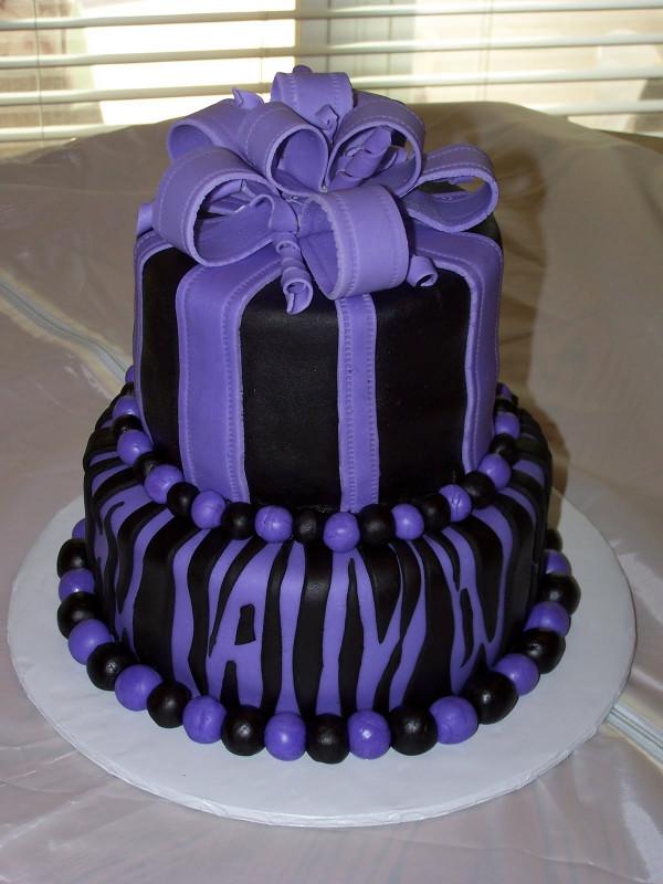 Purple Birthday Cake  Heather Calvin Cakes July 2011
