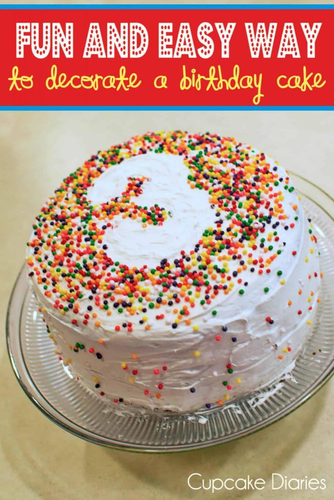 Simple Birthday Cake  Fun and Easy Way to Decorate a Birthday Cake Cupcake Diaries