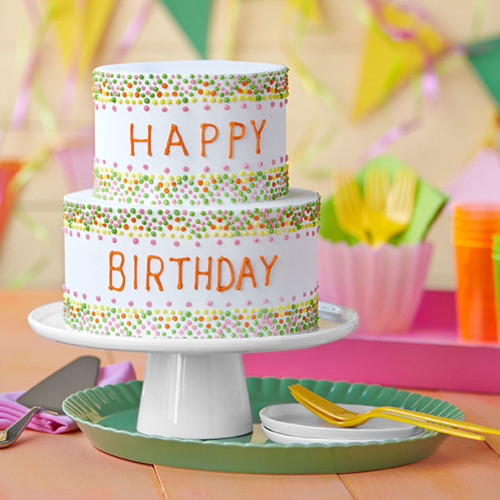 Simple Birthday Cake  Easy Birthday Cake with Colorful Polka Dots