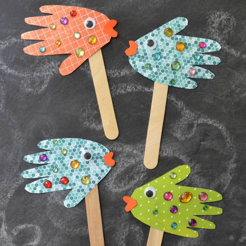 Simple Crafts For Kids  Handprint Fish Puppets