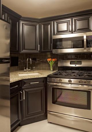 Small Kitchen Cabinets  My next kitchen Dark grey cabinets with dark backsplash
