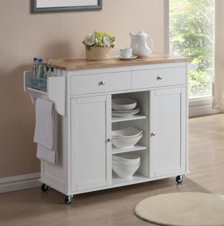 Small Kitchen Cart  MODERN WHITE LACQUERED KITCHEN CART CENTER ISLAND STORAGE