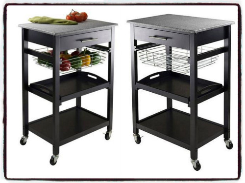 Small Kitchen Cart  Small Portable Kitchen Island Cart Granite Top Drawer