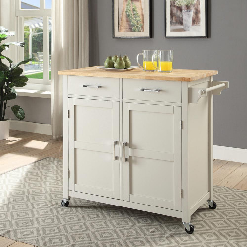 Small Kitchen Cart  USL Macie Polar White Small Kitchen Cart SK A1 PW