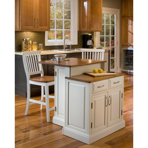 Small Kitchen Island With Seating  Home Styles Woodbridge White Kitchen Island With Seating