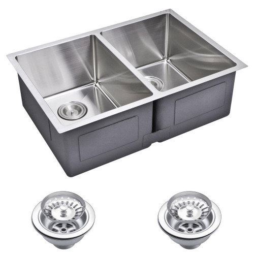 Small Kitchen Sinks  Water Creation Undermount Small 27 in 0 Hole Double Bowl