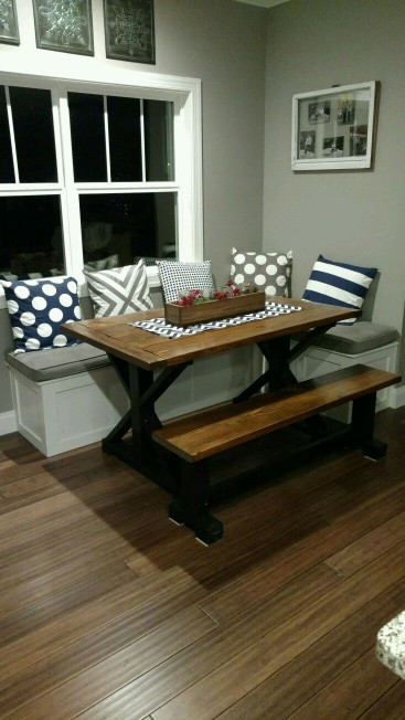 Small Kitchen Table With Bench  My husband built this table and bench seating for my nook