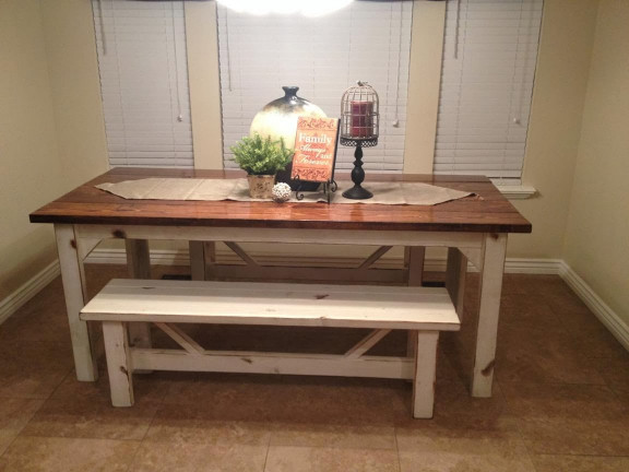 Small Kitchen Table With Bench  Rustic Nail Farm style kitchen table and benches to match
