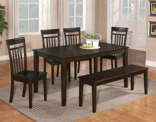 Small Kitchen Table With Bench  6 PC DINETTE KITCHEN DINING ROOM SET TABLE w 4 WOOD CHAIR