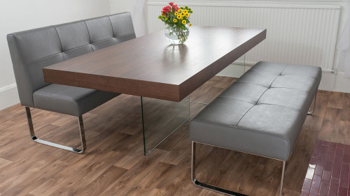 Small Kitchen Tables With Bench  Modern Quilted Dining Bench Made to Measure