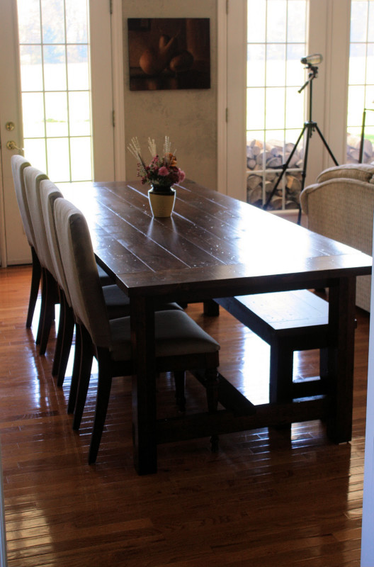 Small Kitchen Tables With Bench  Landlocked Farmhouse Dining Table and Bench