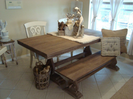 Small Kitchen Tables With Bench  Minimalist Rustic Kitchen Table With Bench Seating Design
