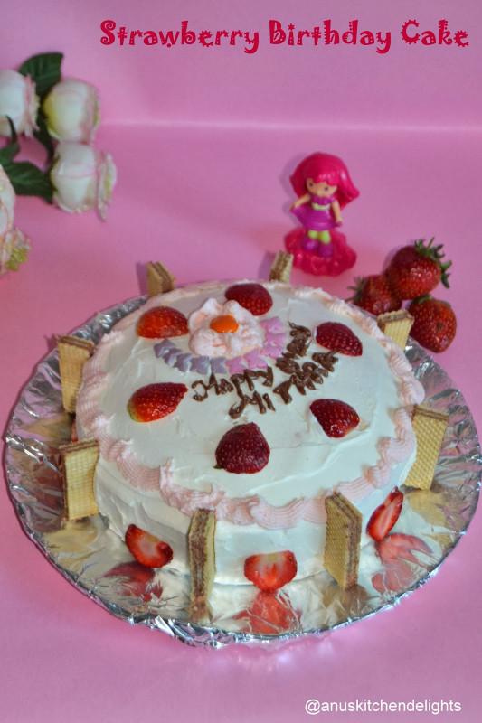 Strawberry Birthday Cake  Anu s Kitchendelights Eggless Strawberry Cake