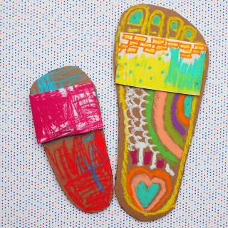 Summer Art And Craft For Kids  Colorful Flip Flop Artwork