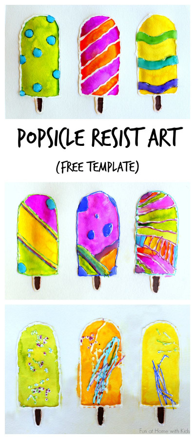 Summer Art And Craft For Kids  Popsicle Resist Art with Free Popsicle Template
