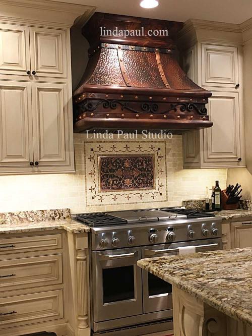 Tile Kitchen Backsplash  Kitchen Backsplash Plaques Ravenna Decorative Tile Medallion