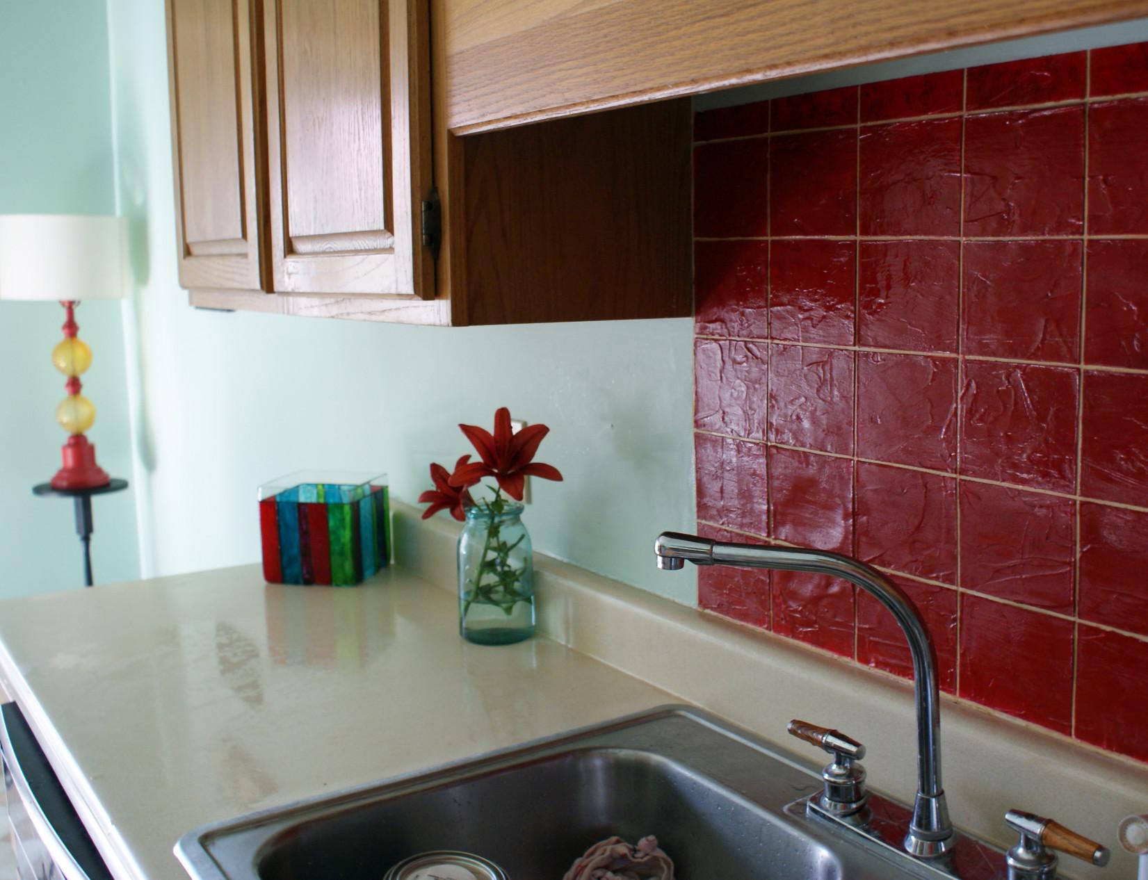 Tile Kitchen Backsplash  Faux Tile Kitchen Backsplash