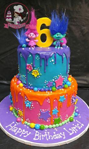 Troll Birthday Cake  TROLLS BIRTHDAY CAKE No stars no orange drip flowers on