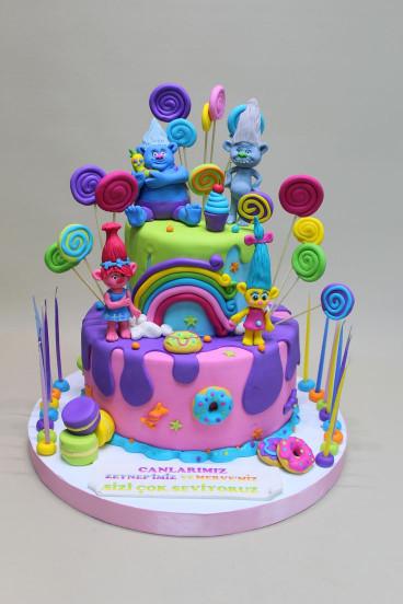 Troll Birthday Cake  Trolls Cake Misketpasta Pinterest