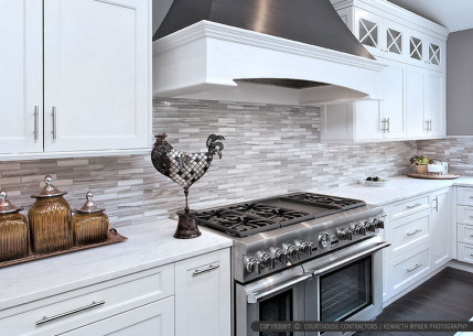 White Kitchen Backsplash  White Modern Kitchen with Marble Subway Tile Backsplash
