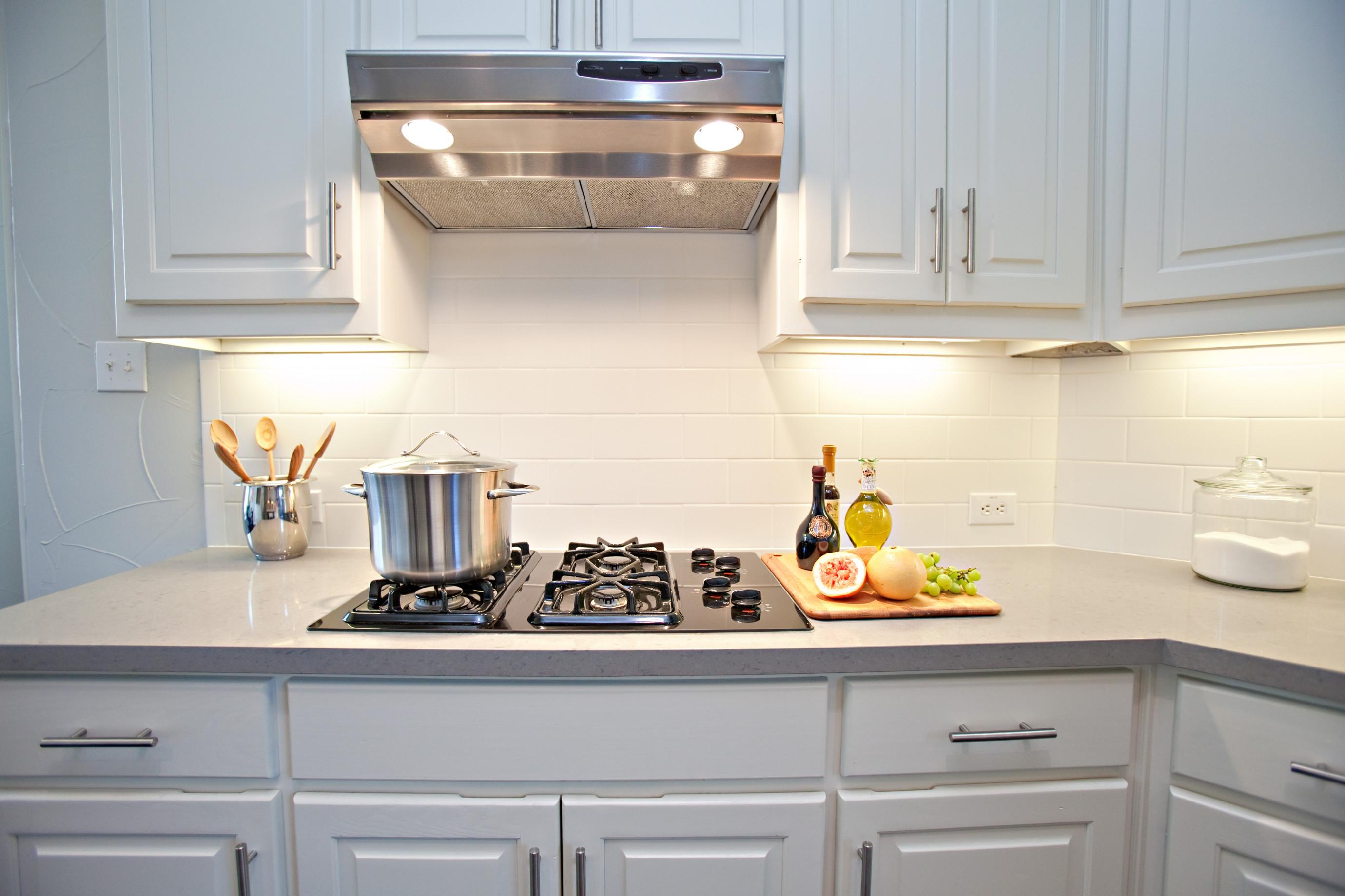 White Kitchen Backsplash  white subway tile backsplash