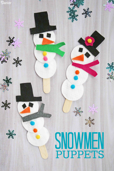 Winter Crafts For Kids  Snowman Puppet Easy Winter Craft for Kids Darice